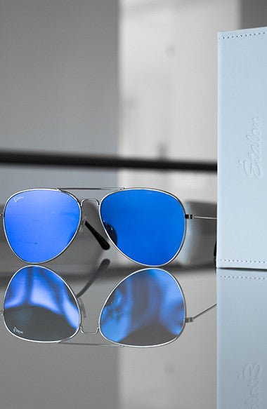 Blue Lens/ Silver Frame Metallic Sunglasses