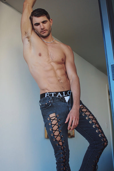 Black Laced Jeans