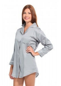 Grey With White Sateen Boyfriend Shirt