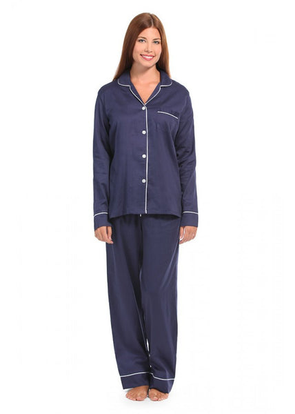Navy and White Sateen Pajama Set