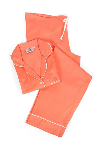 Coral Sateen Pajama Set
