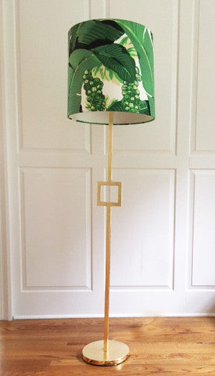 Gilded Floor Lamp W/ Dorothy Draper Brazilliance Lamp Shade