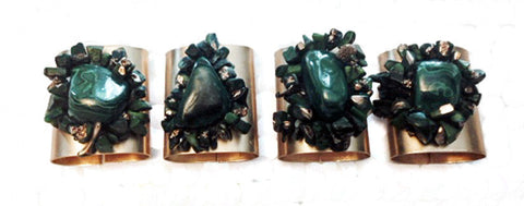 Polished Malachite Cluster Napkin Rings