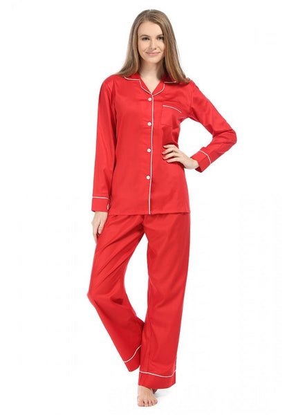 Red and White Sateen Pajama Set