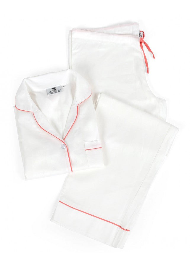 White and Pink Sateen Pajama Set