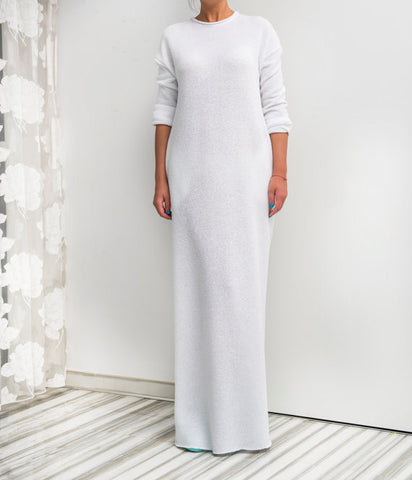 White Cotton Knit Column Dress