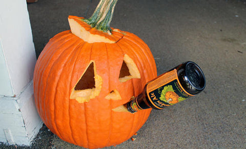 Pumpkin Drinking Beer