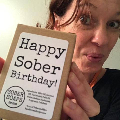 happy sober birthday, sober soap, recovery girt, recovery soap