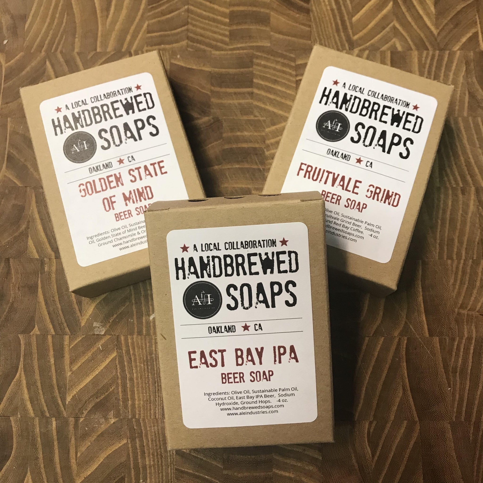 Ale Industries Beer Soap Collection: Fruitvale Gind, East Bay IPA, Golden State of Mind