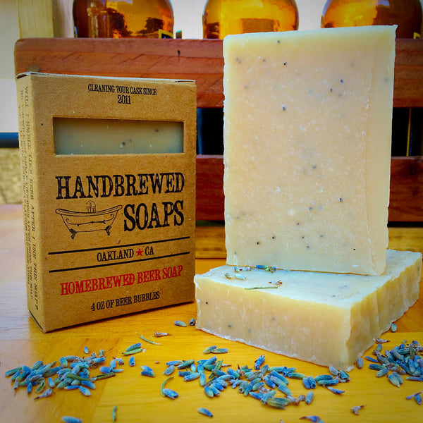 Homebrewed Saison Beer Soap with poppy seeds and lavender