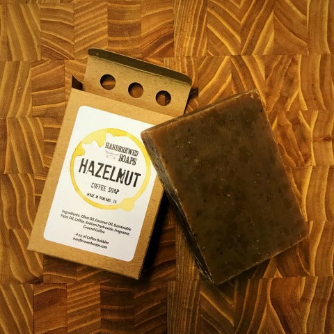 hazelnut coffee soap, coffee soap, hazelnut soap