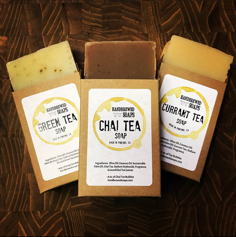 Tea Lovers Soap Set- Green Tea, Chai, and Currant Tea Soap