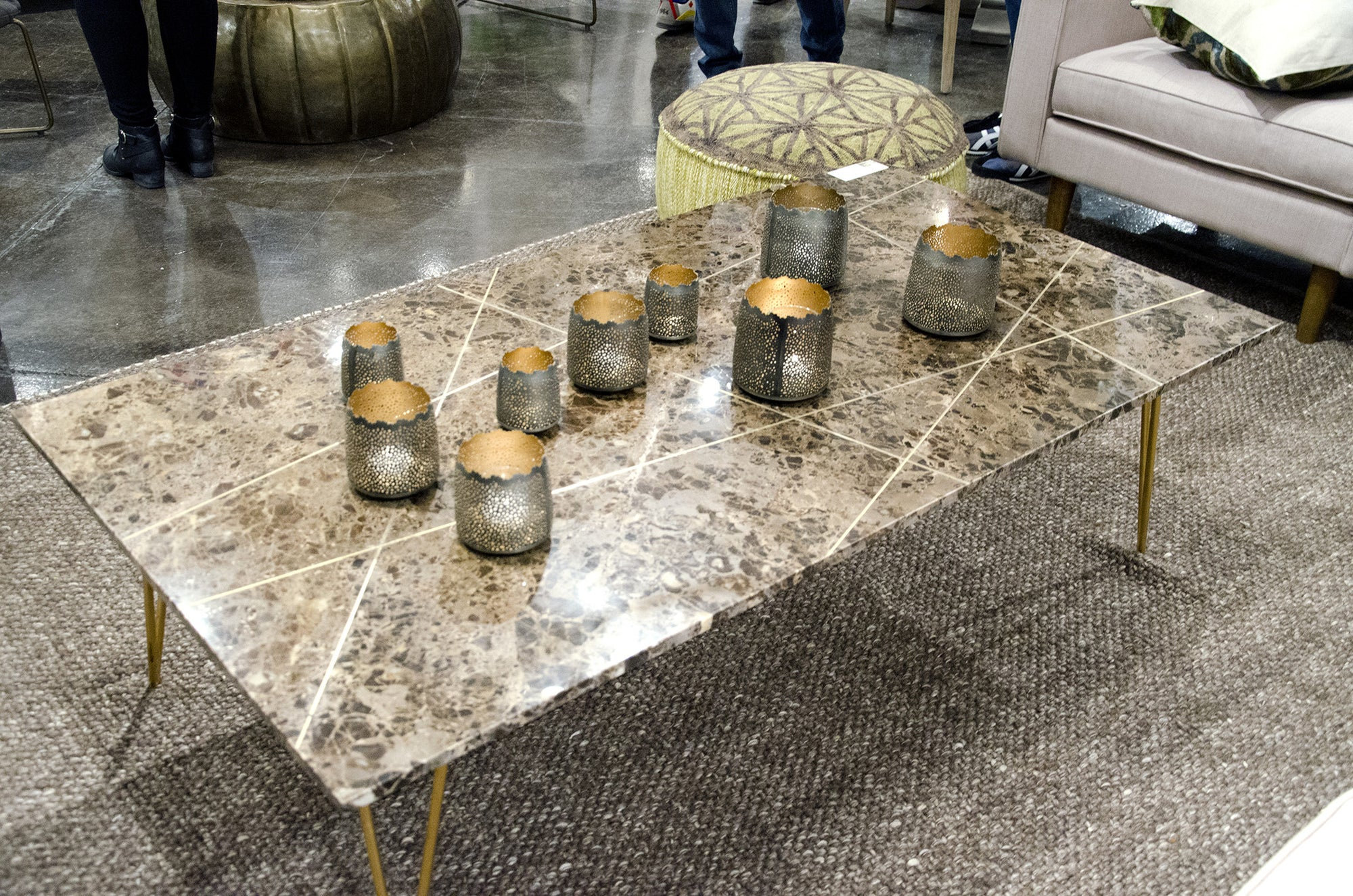 Leon stone top Coffee Table by Dovetail at Solid Austin Solid