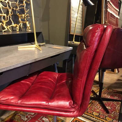 Jett Red Leather Swivel Chair