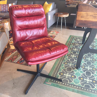 Jett Red Leather Swivel Chair - Solid Austin TX
