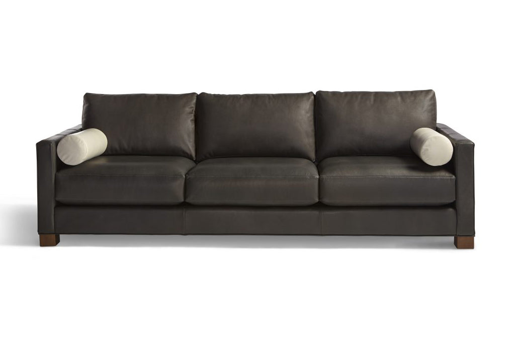 Black leather Langdon sofa stock photo by Lazar Industries. Custom order at Five Elements Contemporary Furniture.