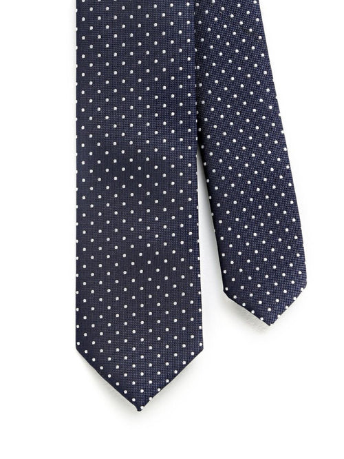 Navy Blue/White Pin-Dot Tie
