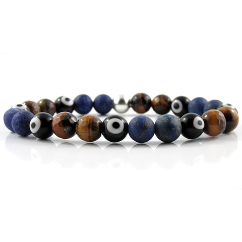 Black Evil Eye | Faceted Tiger Eye x Matte Lapis Lazuli