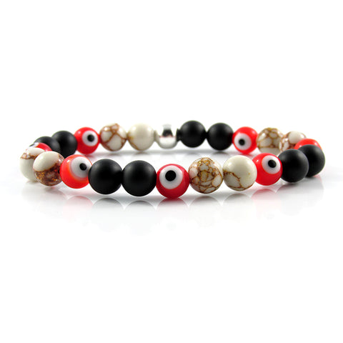 Red & Orange Evil Eye | Gold Greek Howlite x Matte Onyx