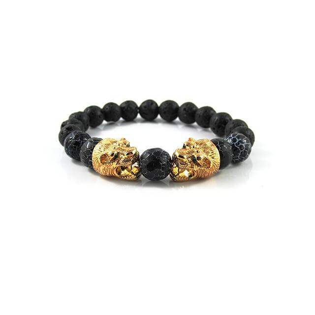18kt. Gold Plated Panther's | Faceted Cracked Dinosaur Egg x Lava Stone