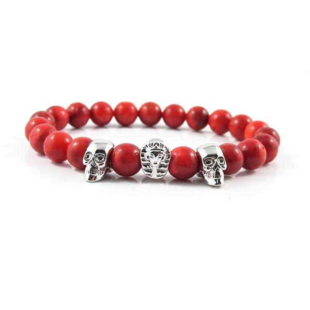 18kt. White Gold Plated Great Sphinx & Skull ii | Rosso Coral