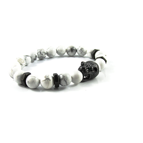 Gunmetal Black Panther | White Greek Howlite x Matte Black Bolts