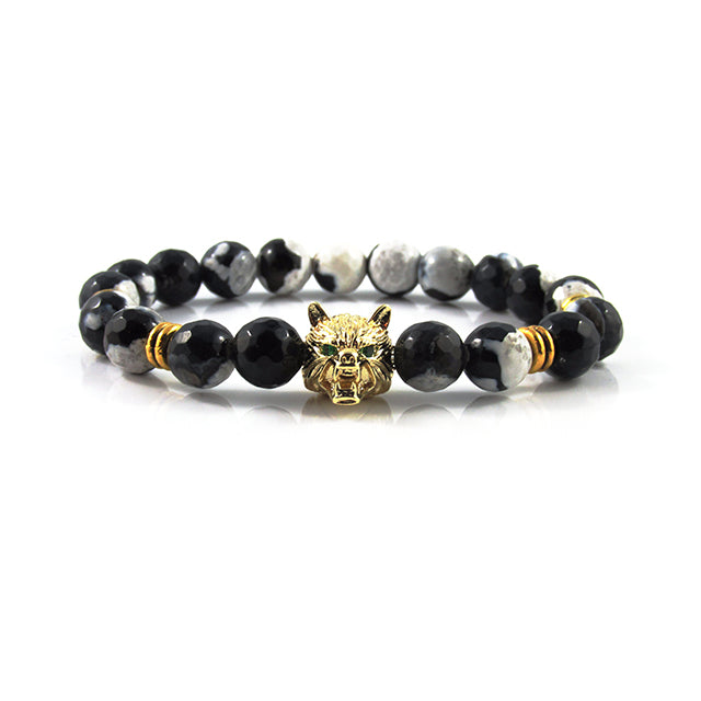 18kt. Gold Plated Lykaon | Faceted Black & White Firestone