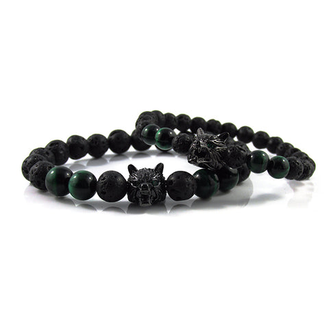 his & hers Gunmetal Black Lykaon | Green Tiger Eye x Lava Stone