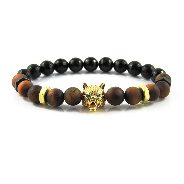 18kt. Gold Plated Lykaon | Matte Tiger Eye x Faceted Agate x Bolts