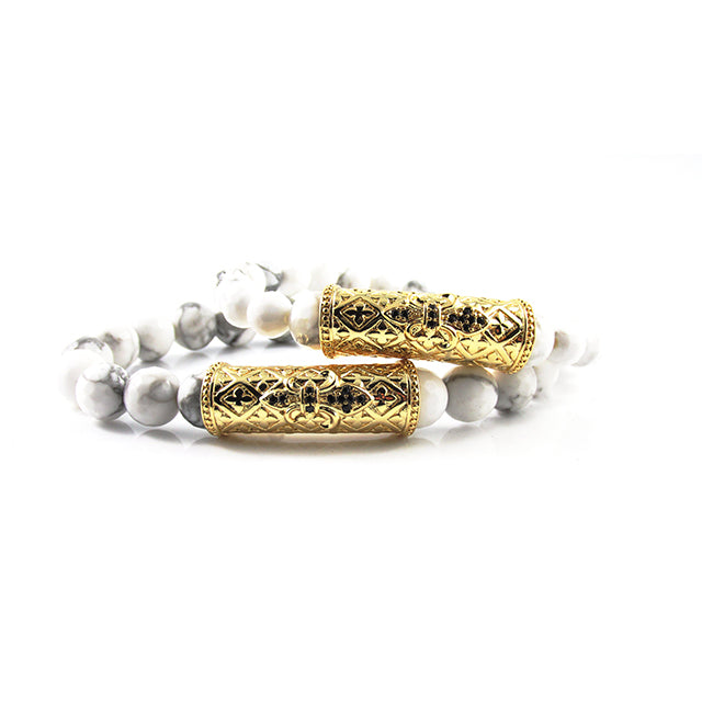 his & hers 18kt. Gold Plated Royal | Faceted White Greek Howlite