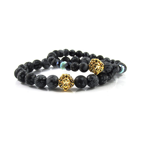 his & hers 18kt. Gold Plated Leo | Matte Snowflake Obsidian