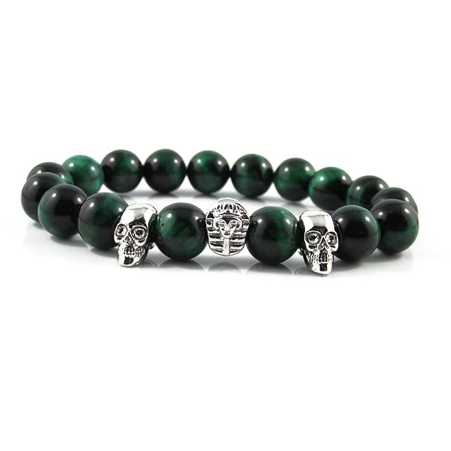 18kt. White Gold Plated Great Sphinx & Skull ii | Green Tiger Eye
