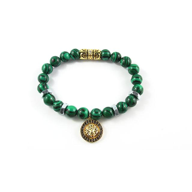 18kt. Gold Plated Leo ii | Malachite x Bolts