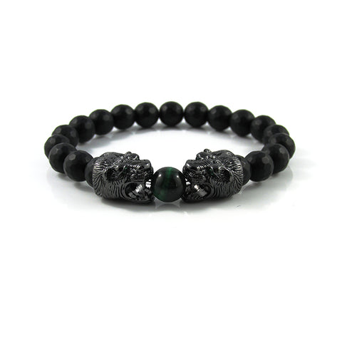 Gunmetal Black Panther's | Faceted Matte Onyx x Green Tiger Eye