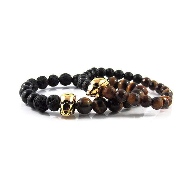 his & hers 18kt. Gold Plated Iron Man | Tiger Eye x Agate x Lava Stone