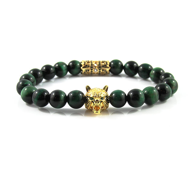 18kt. Gold Plated Lykaon | Green Tiger Eye