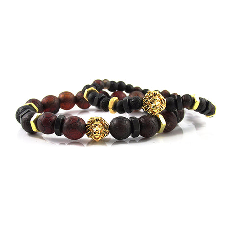 his & hers 18kt. Gold Plated Leo | Aged Lava Stone x Bolts