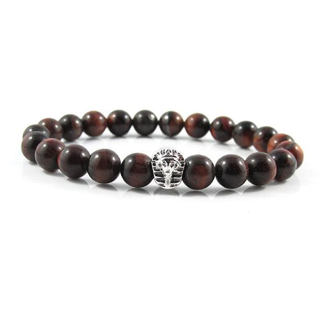 18kt. White Gold Plated Great Sphinx | Red Tiger Eye