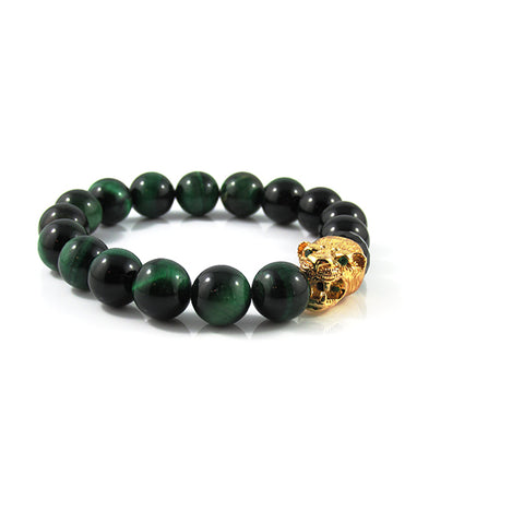 18kt. Gold Plated Panther | Green Tiger Eye x Agate x Faceted Agate Stone