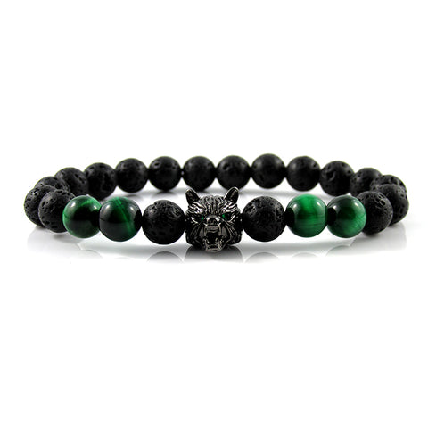 Gunmetal Black Lykaon | Lava Stone x Green Tiger Eye