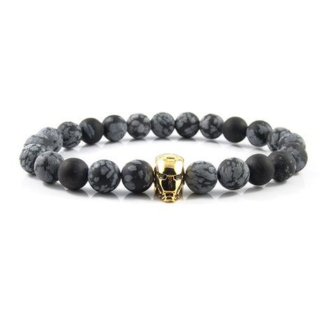 18kt. Gold Plated Iron Man | Matte Snowflake Obsidian