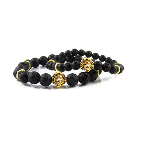 his & hers 18kt. Gold Plated Leo | Lava Stone x Bolts