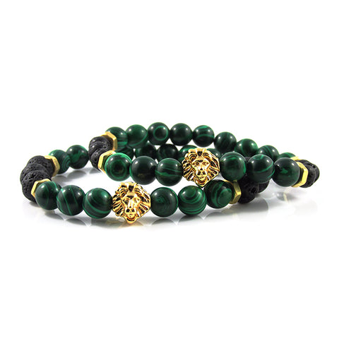 his & hers 18kt. Gold Plated Leo | Malachite x Lava Stone x Gold Bolts