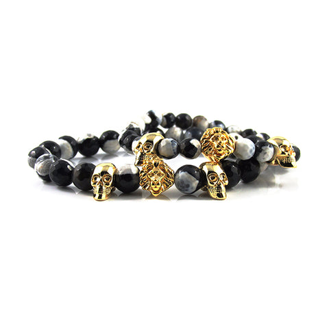his & hers 18kt. Gold Plated Leo & Skull ii | Faceted Black & White Firestone