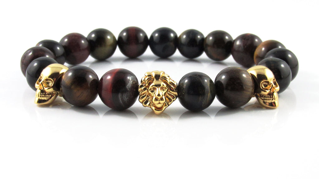 18kt. Gold Plated Leo x Skull ii | Multicoloured Tiger Eye