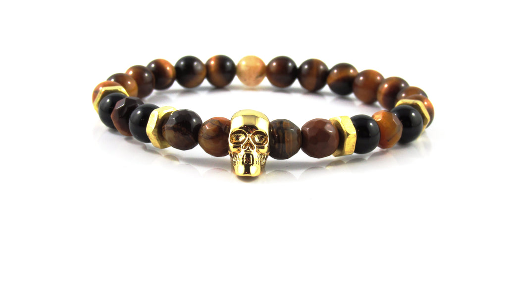 18kt. Gold Plated Skull | Tiger Eye x Bolts