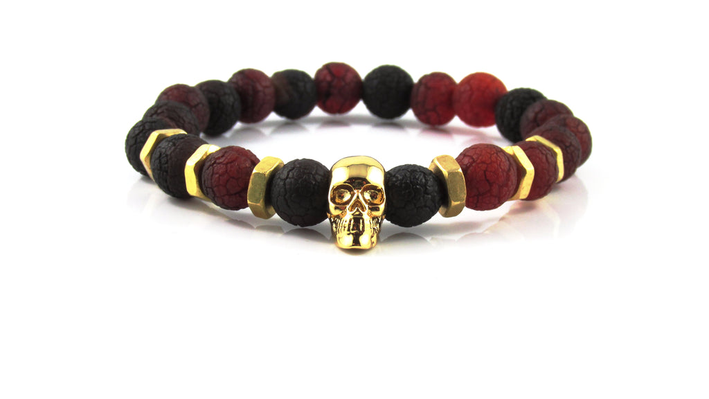 18kt. Gold Plated Skull | Aged Lava Stone
