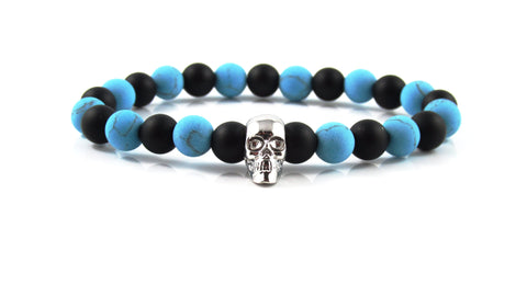 18kt. White Gold Plated Skull | Blue Greek Howlite x Matte Onyx