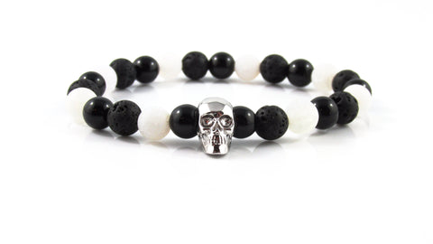 18kt. White Gold Plated Skull | Agate x Lava Stone x Grey Cracked Dinosaur Egg