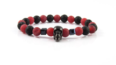 Gunmetal Black Skull | Lava Stone x Red Freeze Agate